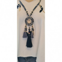Collier long Dreamcatcher Noir