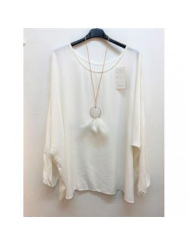 Tunique blanc avec collier