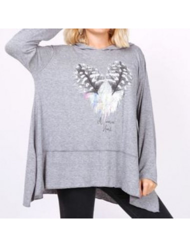 Pull Tunique Plumes Strass...