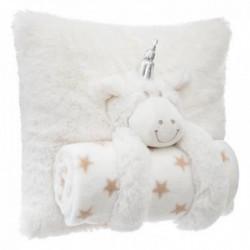Coussin + plaid mouton, blanc